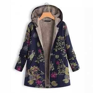 Navy blue tropical floral light zip-up hoodie